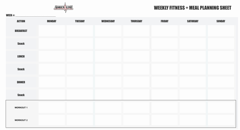 Weekly Workout Schedule Template Unique Adrenaline 12 Week Petition