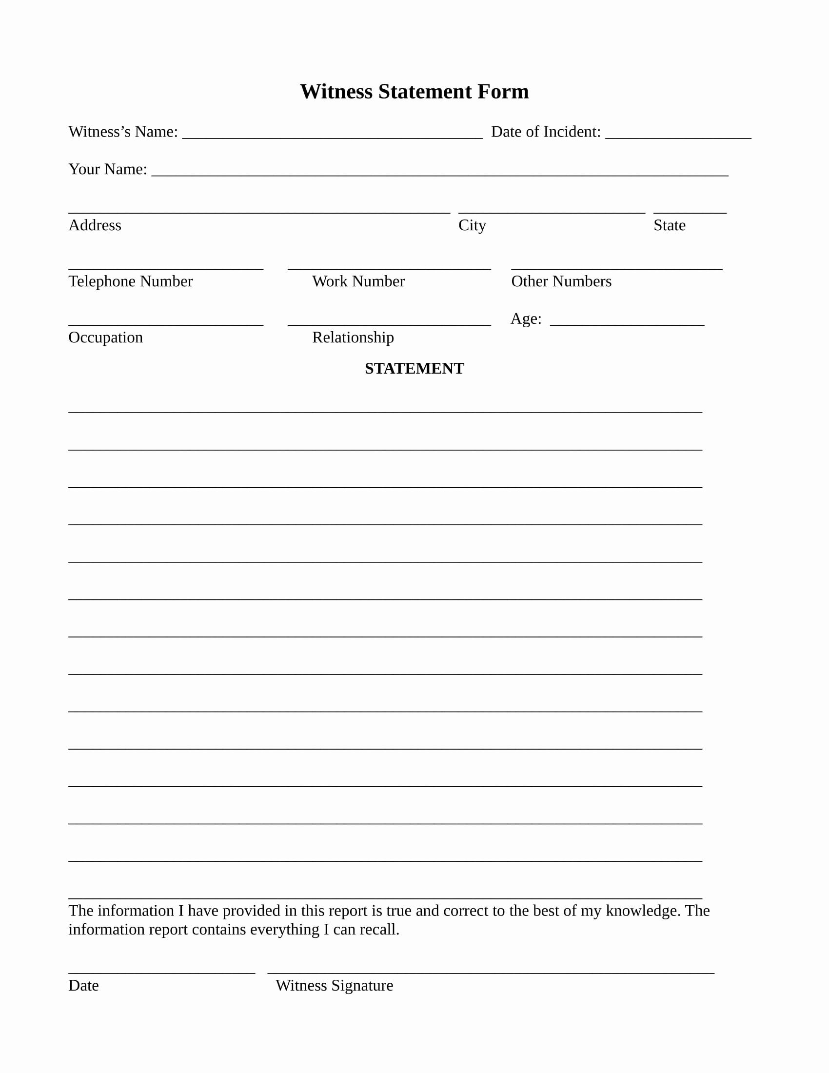 Witness Statement Template Word Beautiful Free 14 Employee Witness Statement forms In Word