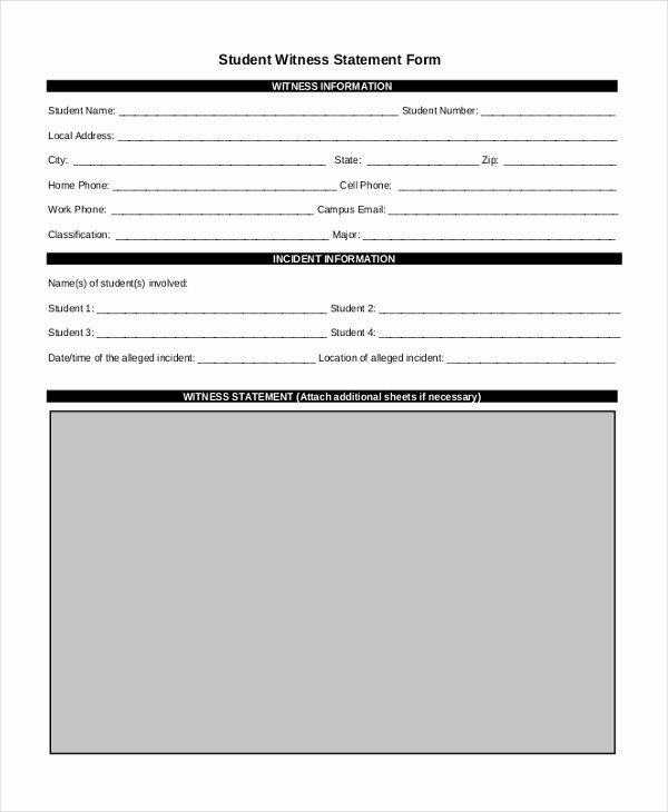 Witness Statement Template Word Best Of Free 10 Sample Witness Statement forms In Pdf