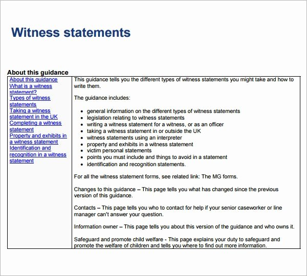Witness Statement Template Word Elegant Free 12 Sample Witness Statement Templates In Pdf