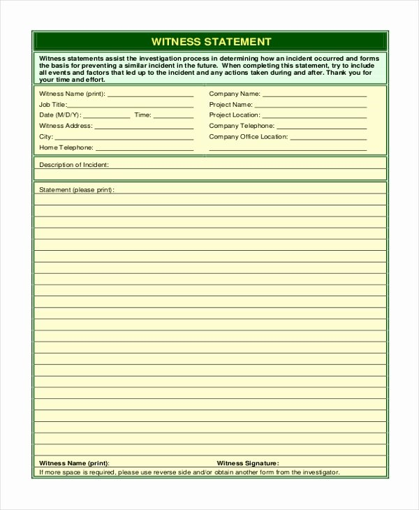 Witness Statement Template Word Lovely Free 10 Sample Witness Statement forms In Pdf