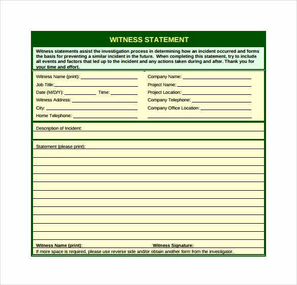 Witness Statement Template Word Lovely Sample Notary Statements
