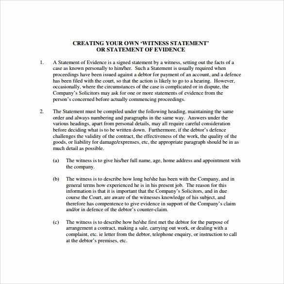 Witness Statement Template Word Luxury Free 12 Sample Witness Statement Templates In Pdf