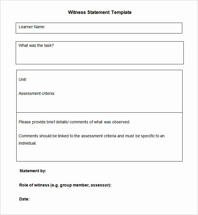 Witness Statement Template Word New Blank Witness Statement Template