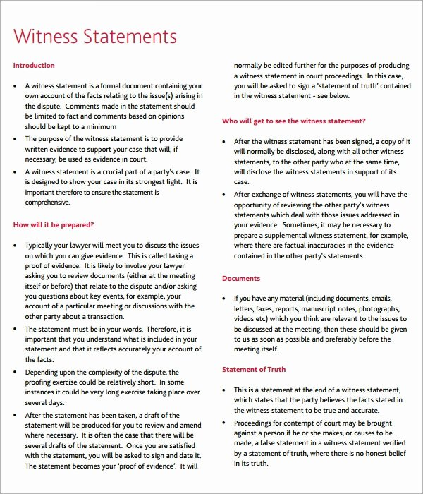 Witness Statement Template Word New Free 12 Sample Witness Statement Templates In Pdf