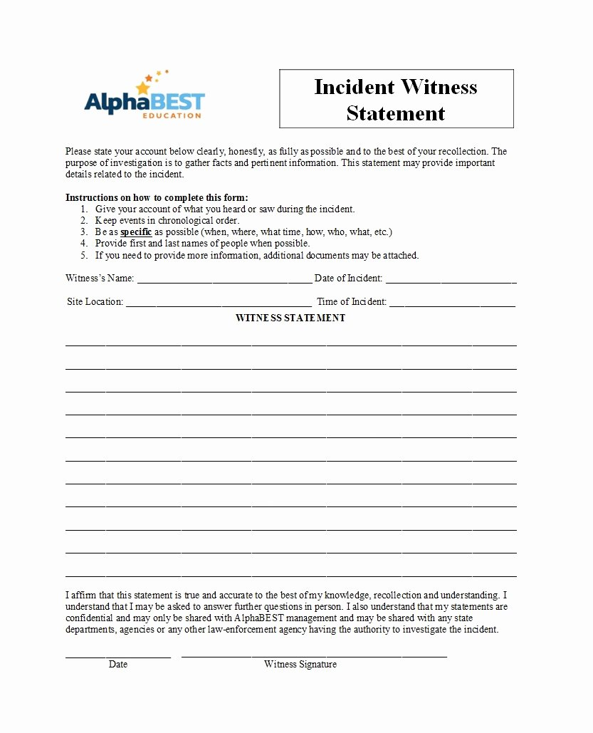 Witness Statement Template Word Unique 50 Professional Witness Statement forms & Templates