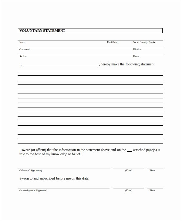 Witness Statement Template Word Unique Legal Statement Template 11 Free Word Pdf Document