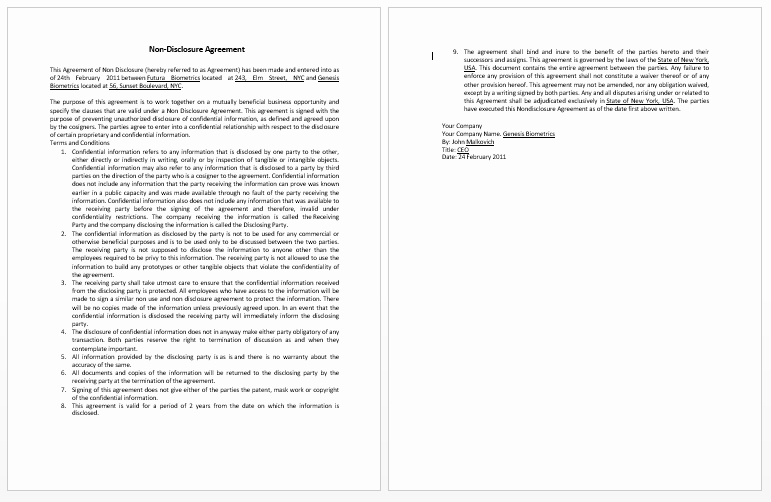Word Employee Confidentiality Agreement Templates Awesome Confidentiality Contract Template Microsoft Word Templates