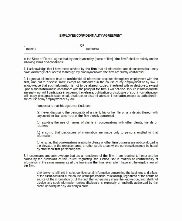 Word Employee Confidentiality Agreement Templates Awesome Employee Confidentiality Agreement – 10 Free Word Pdf