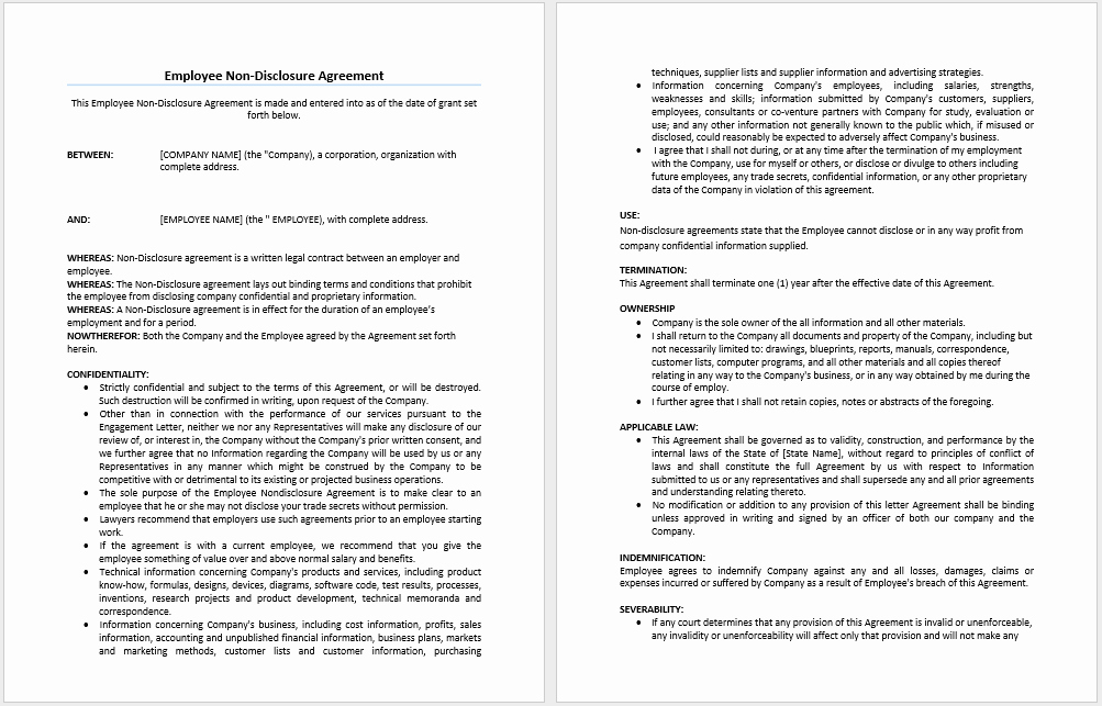 Word Employee Confidentiality Agreement Templates Awesome Employee Non Disclosure Agreement Template – Word