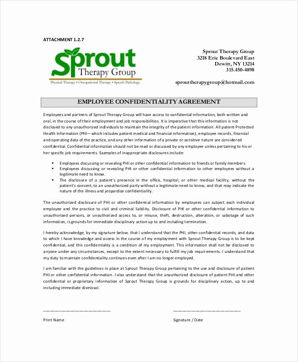 Word Employee Confidentiality Agreement Templates Beautiful Employee Confidentiality Agreement – 10 Free Word Pdf