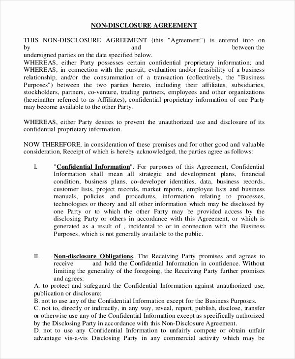 Word Employee Confidentiality Agreement Templates Elegant Non Disclosure Agreement Template – 21 Free Word Pdf