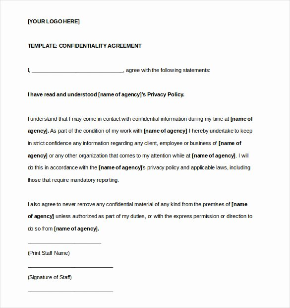 Word Employee Confidentiality Agreement Templates Fresh 24 Confidentiality Agreement Templates Doc Pdf Apple