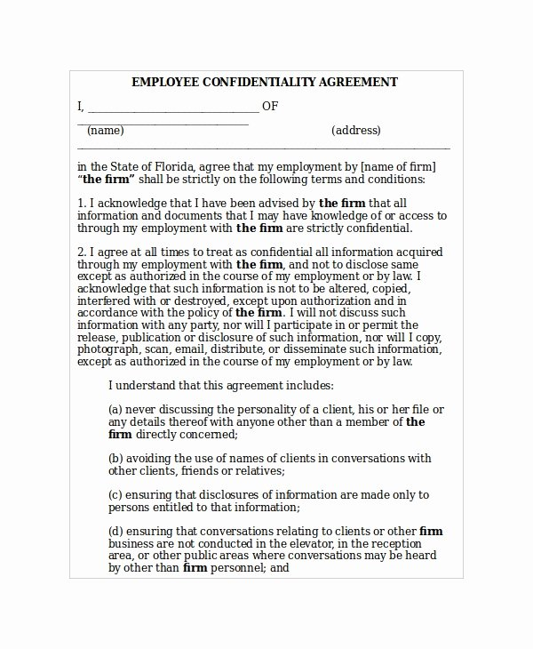 Word Employee Confidentiality Agreement Templates Fresh 35 Confidentiality Agreement Templates Free Word Pdf