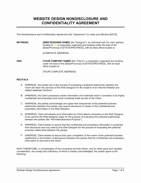 Word Employee Confidentiality Agreement Templates Fresh 6 Non Disclosure Agreement Templates Excel Pdf formats