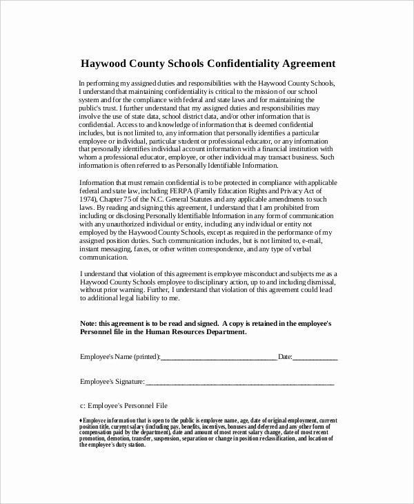 Word Employee Confidentiality Agreement Templates Lovely 12 Human Resources Confidentiality Agreement Templates