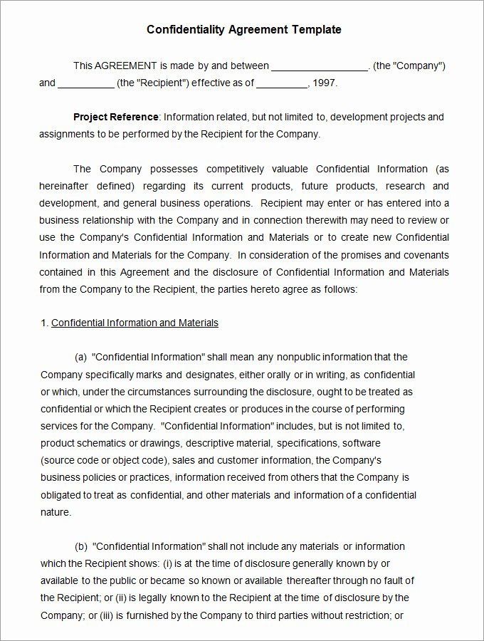 Word Employee Confidentiality Agreement Templates Lovely Confidentiality Agreement Template 15 Free Word