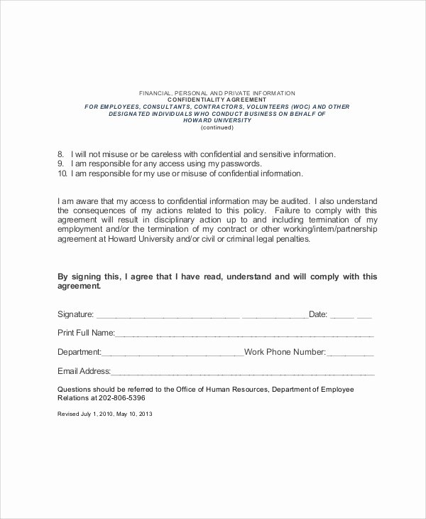 Word Employee Confidentiality Agreement Templates Lovely Sample Hr Confidentiality Agreement 6 Documents In Pdf