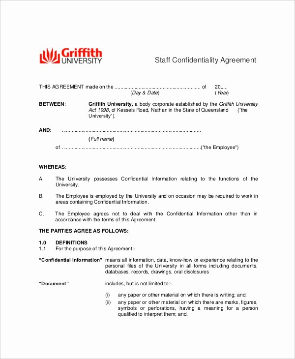 Word Employee Confidentiality Agreement Templates Luxury 16 Employee Confidentiality Agreement Templates Free