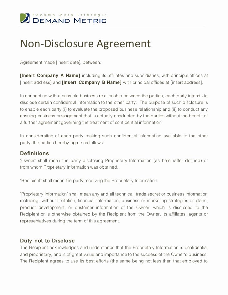 Word Employee Confidentiality Agreement Templates New Non Disclosure Agreement Template