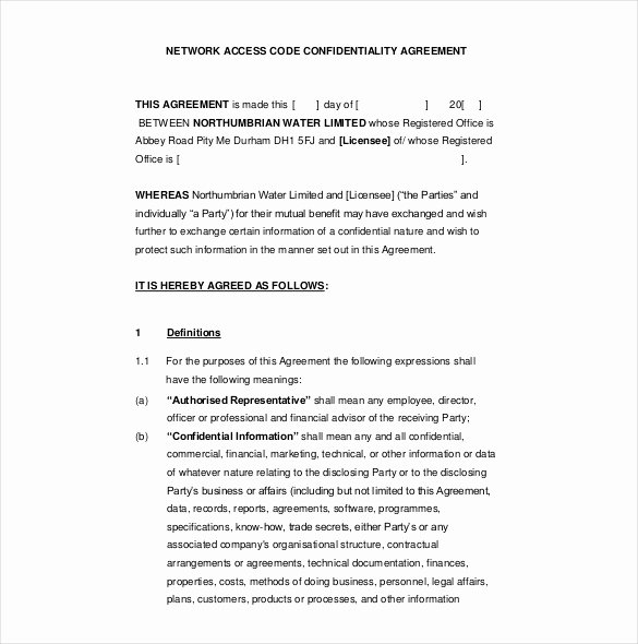 Word Employee Confidentiality Agreement Templates Unique 16 Confidentiality Agreement Templates – Free Word Pdf