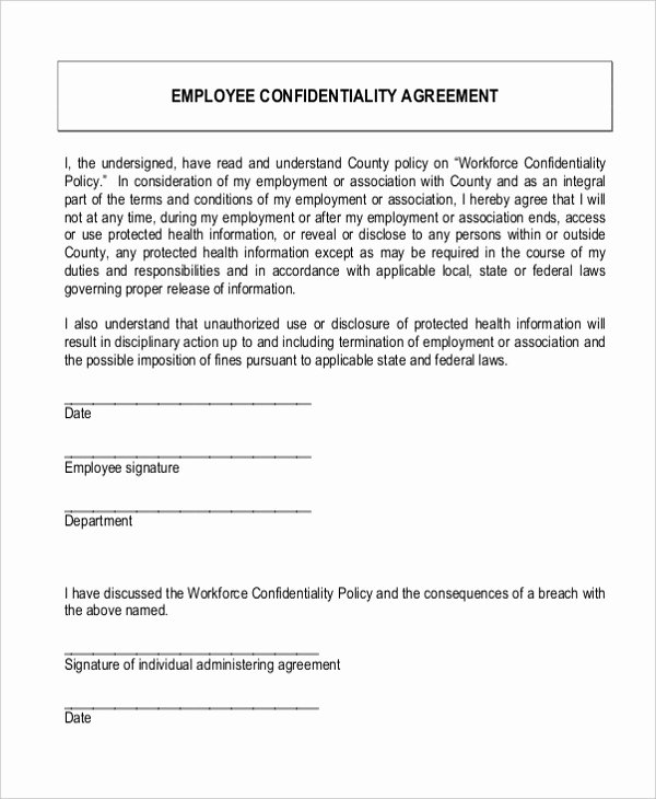 Word Employee Confidentiality Agreement Templates Unique Free 8 Sample Confidentiality Agreement forms In Pdf