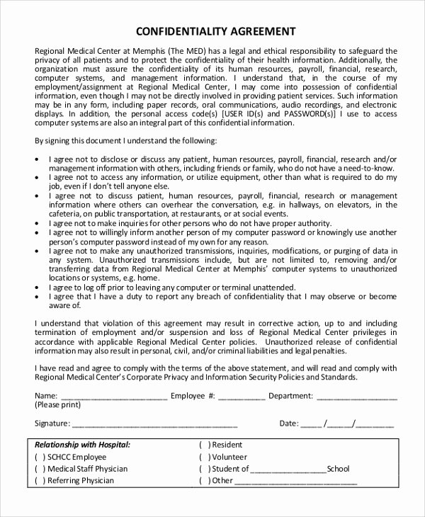 Word Employee Confidentiality Agreement Templates Unique Sample Confidentiality Agreement form 11 Examples In