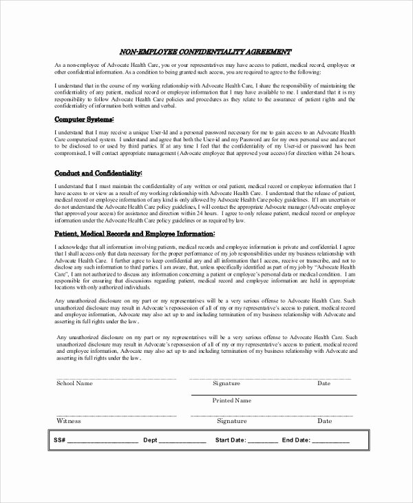 Word Employee Confidentiality Agreement Templates Unique Sample Employee Confidentiality Agreement 8 Documents