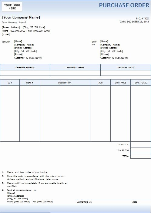 Word Purchase order Template Luxury New Blank Purchase order
