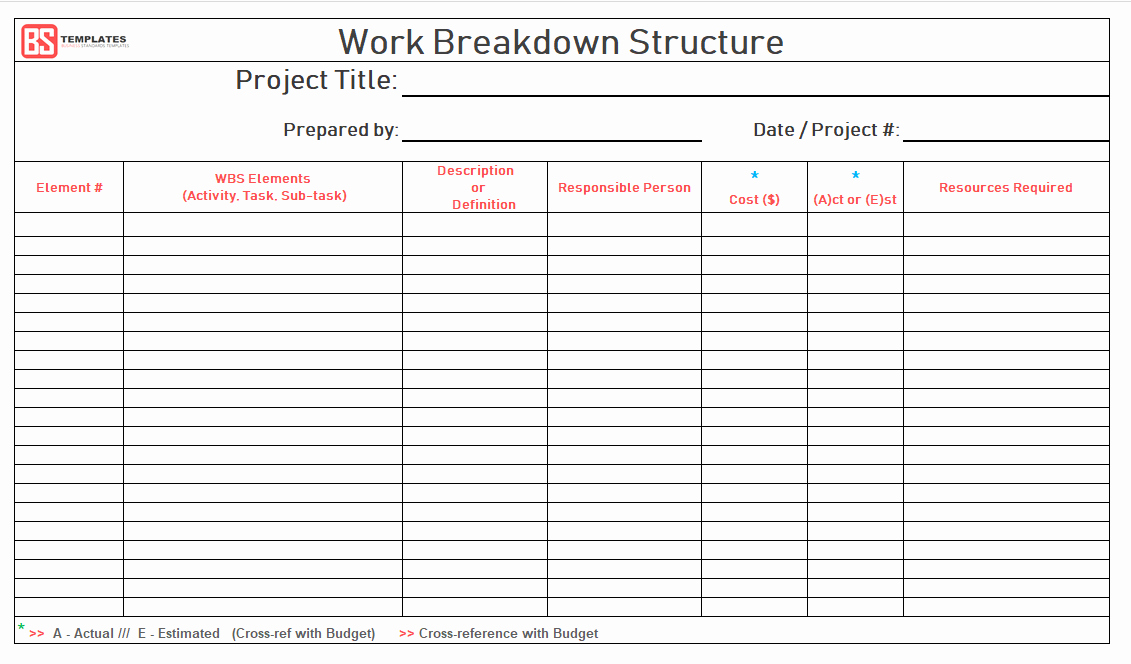 Work Breakdown Structure Template Word Awesome Work Breakdown Structure Wbs Template