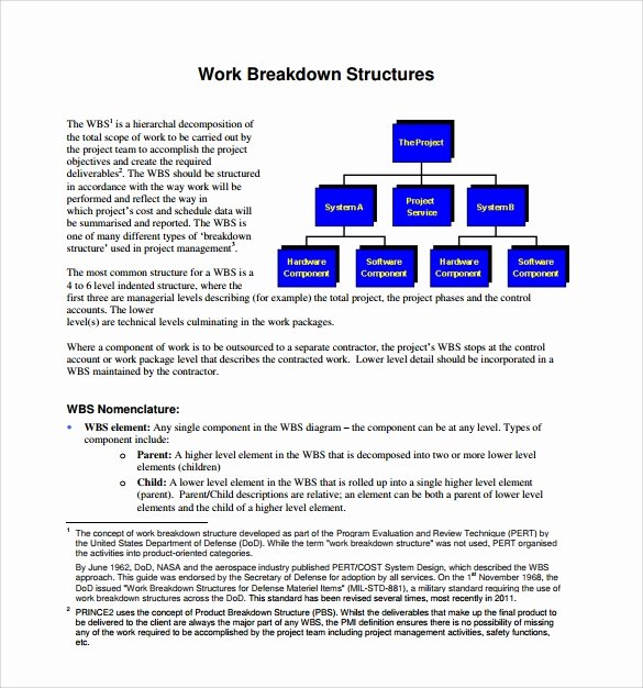 Work Breakdown Structure Template Word New Free 12 Work Breakdown Structure Samples In Pdf