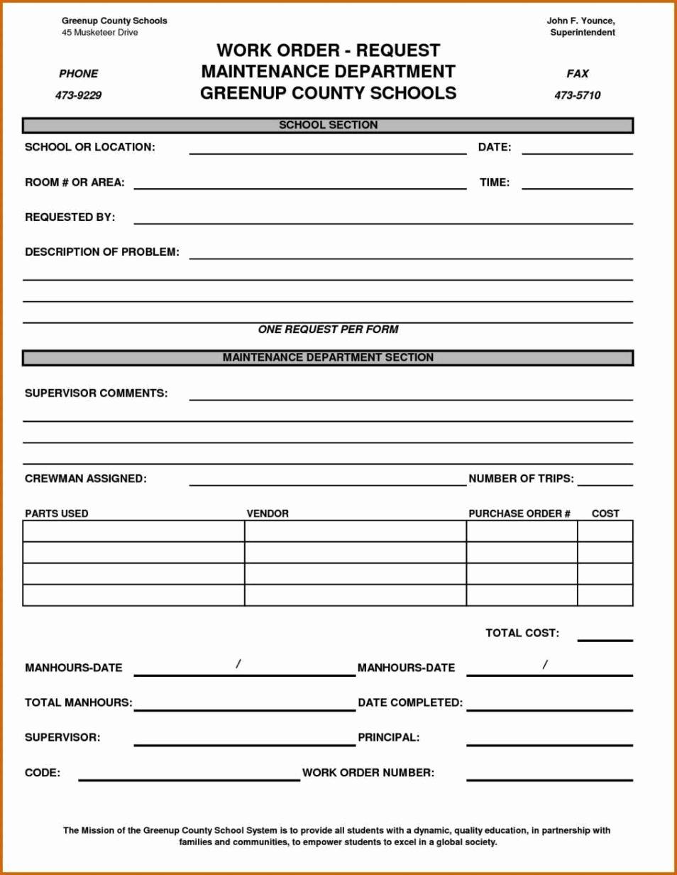 Work order Template Pdf Best Of Maintenance Work order form Template Sampletemplatess