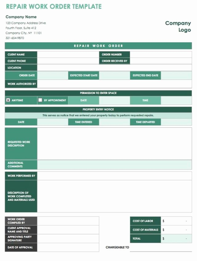 Work order Template Pdf Unique 40 Work order Template Free Download [word Excel Pdf]