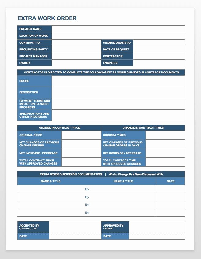 Work order Template Word Awesome Plete Collection Of Free Change order forms