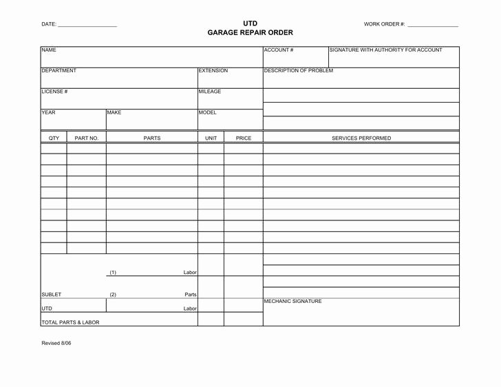 Work order Template Word Beautiful 31 Work order Template Free Download