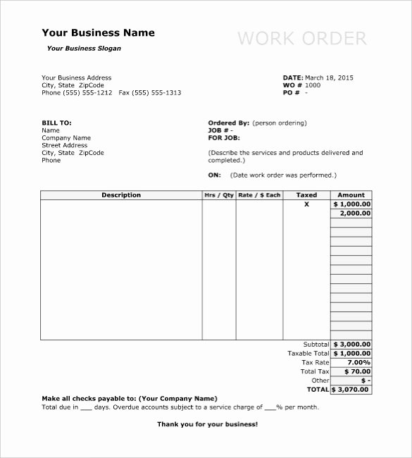 Work order Template Word New Work order Template 13 Free Word Excel Pdf Document
