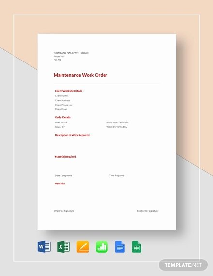 Work order Template Word Unique 16 Work order Templates Word Google Docs