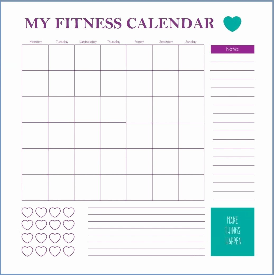 Work Out Schedule Template Beautiful Fitness Calendar Template