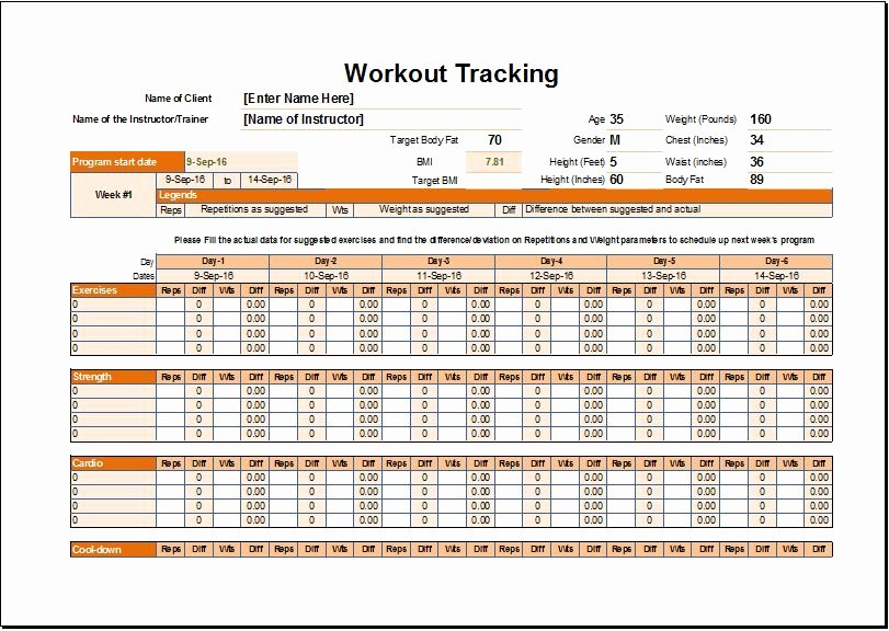 Work Out Schedule Template Beautiful Workout Schedule & Tracker Template for Excel