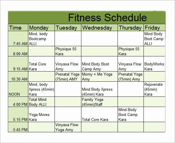 Work Out Schedule Template Fresh Workout Calendar Template