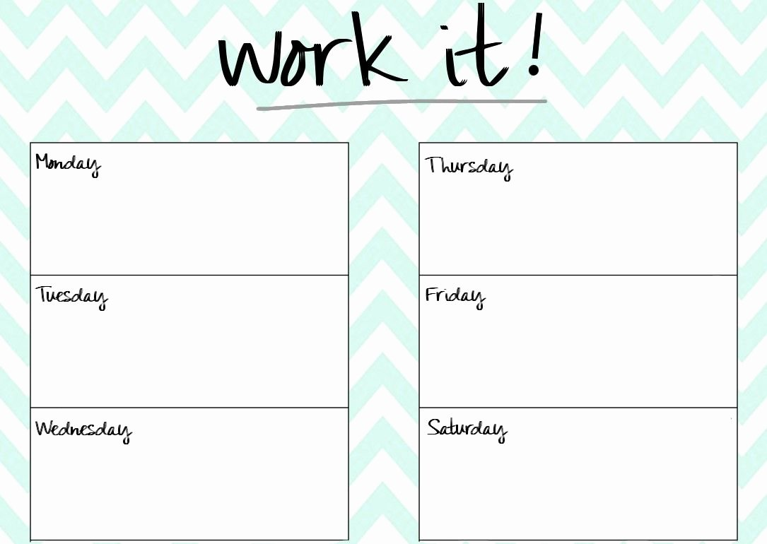 Work Out Schedule Template Lovely Blank Printable Workout Calendar Template 5