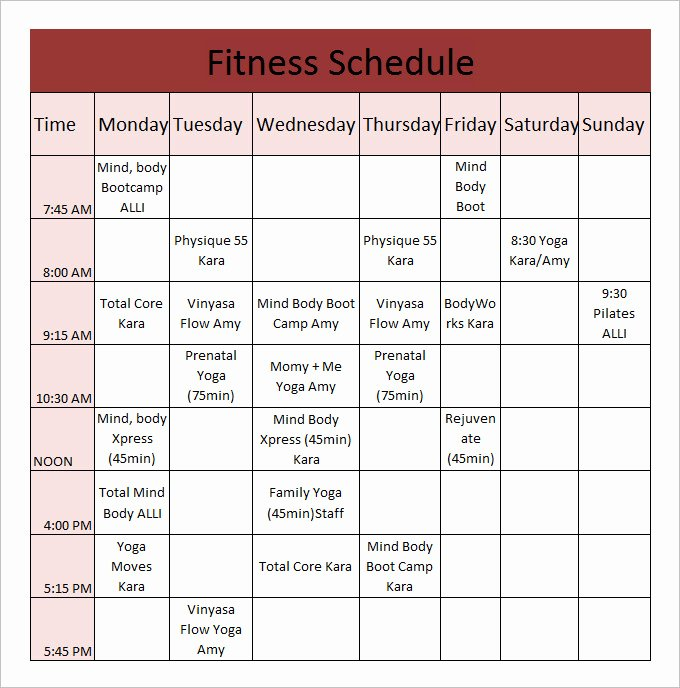 Work Out Schedule Template Luxury Fitness Schedule Template 12 Free Excel Pdf Documents