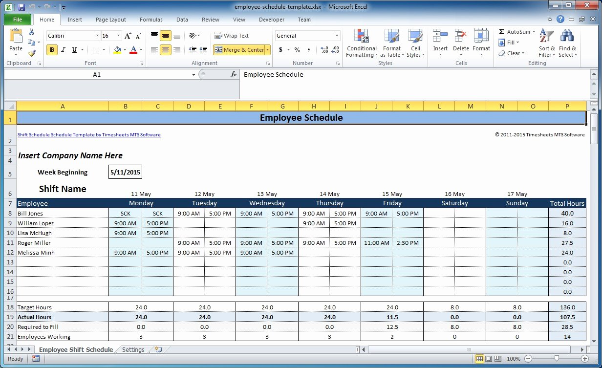 Work Plan Template Excel Inspirational Free Employee and Shift Schedule Templates