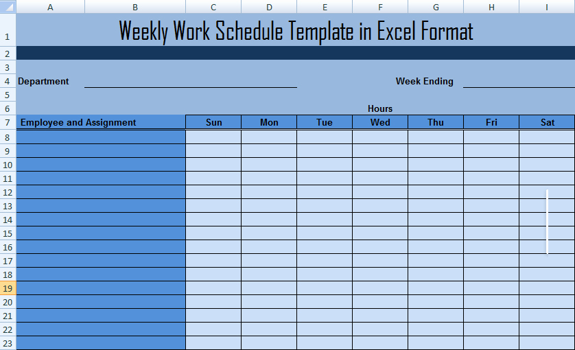 Work Plan Template Excel Inspirational Weekly Work Schedule Template In Excel format