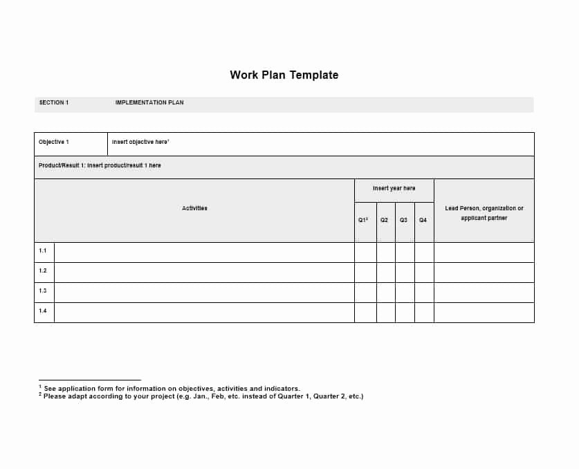 Work Plan Template Word New Work Plan 40 Great Templates & Samples Excel Word