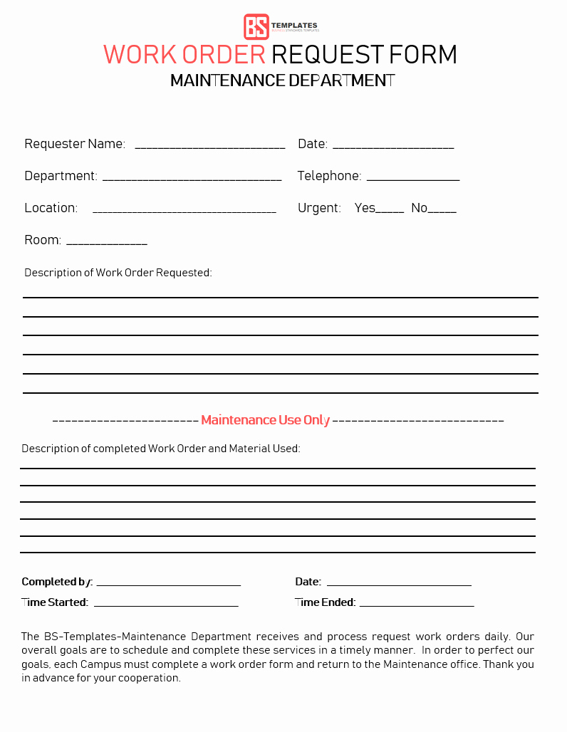 Work Request form Template Awesome Work order
