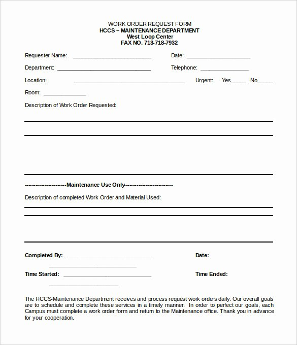 Work Request form Template Beautiful 16 Work order Templates Word Google Docs