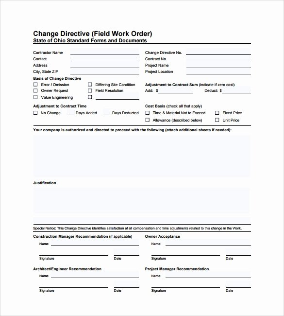Work Request form Template Beautiful 6 Sample Construction Work order forms Pdf