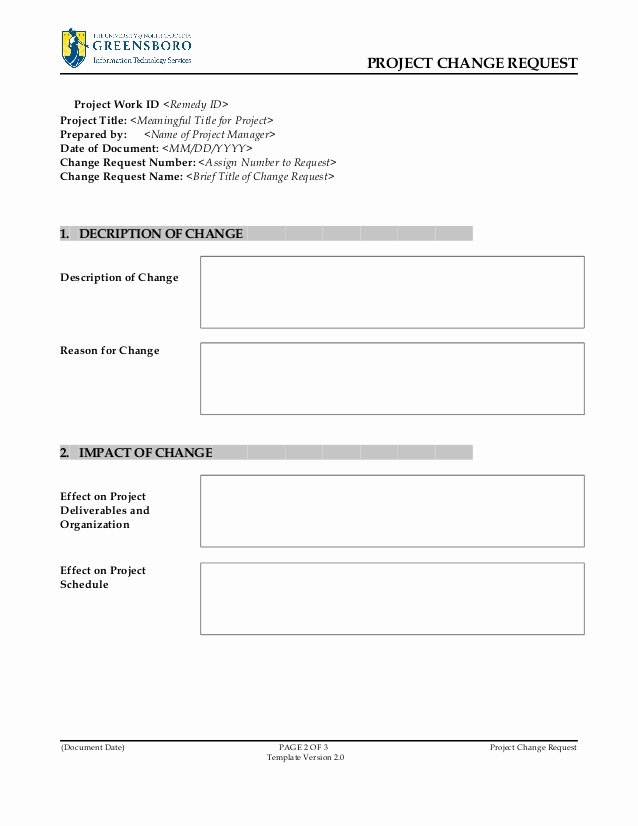 Work Request form Template Best Of Project Change Request Template V2 0