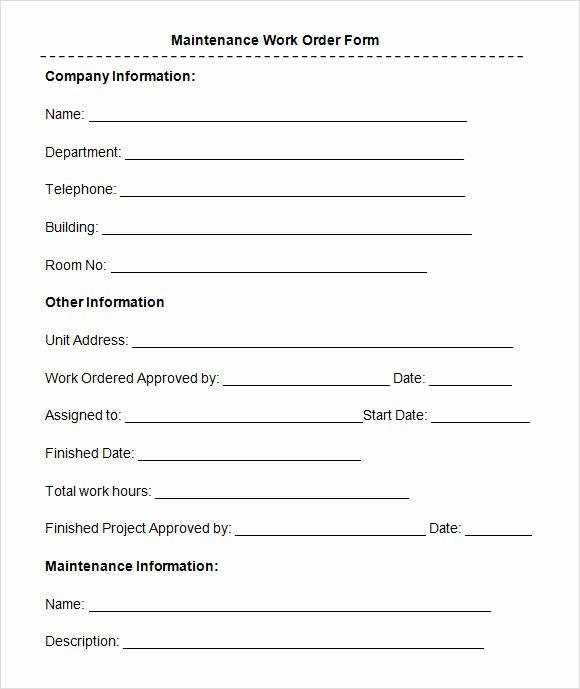 Work Request form Template Elegant Free 8 Sample Maintenance Work order forms In Pdf